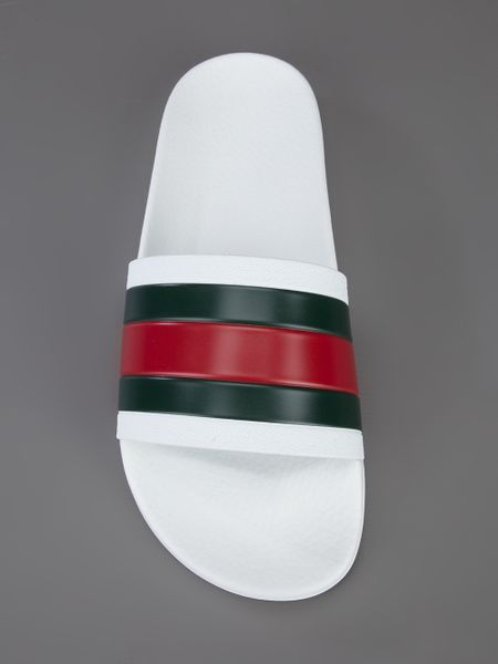 Gucci Striped Slip On Sandals In White For Men Lyst