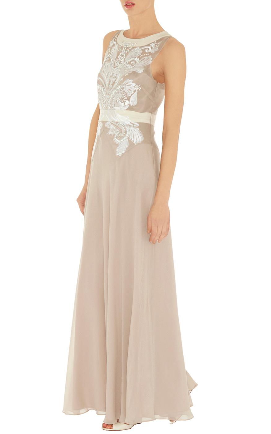 Karen Millen Cutwork and Bead Maxi Dress in Natural - Lyst