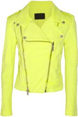 Karl Lagerfeld Jovanna Neon Stretch-Denim Biker Jacket - Lyst