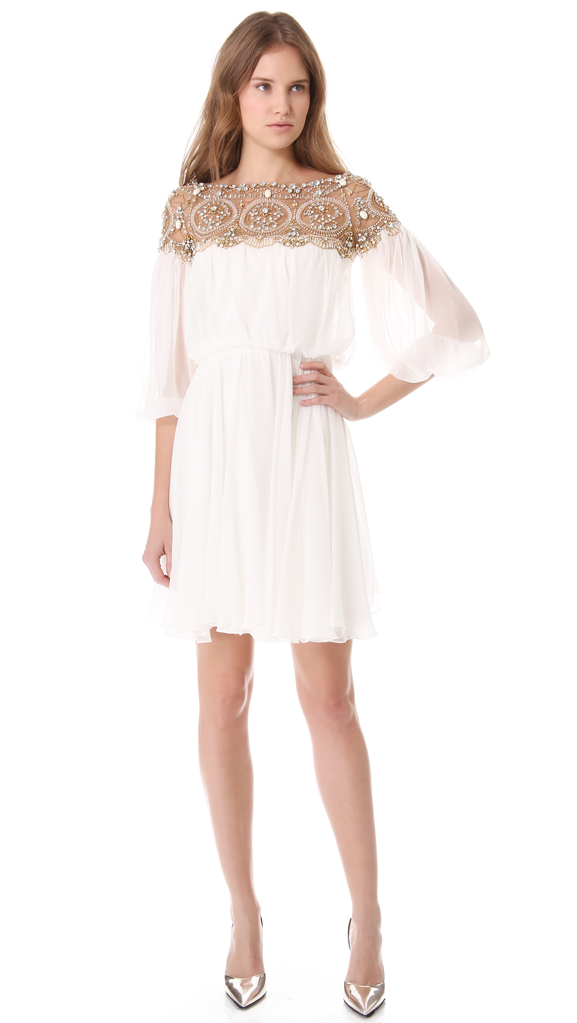 Marchesa Long Sleeve Cocktail Dress in White | Lyst