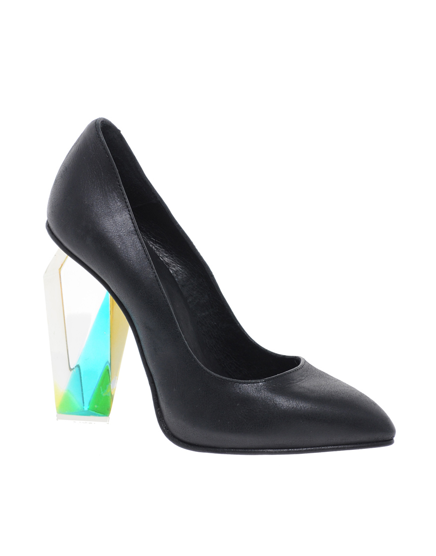 219db349617 Miista Siri Perspex Heeled Black Court Shoes in Black - Lyst