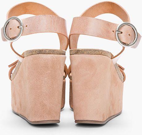 Pedro Garcia Dusty Rose Leather Suede Wedge Darina Sandals