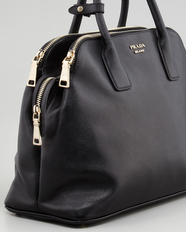 2416a081e3 Prada Leather Handbag Double Zip Tote 2278 Grey