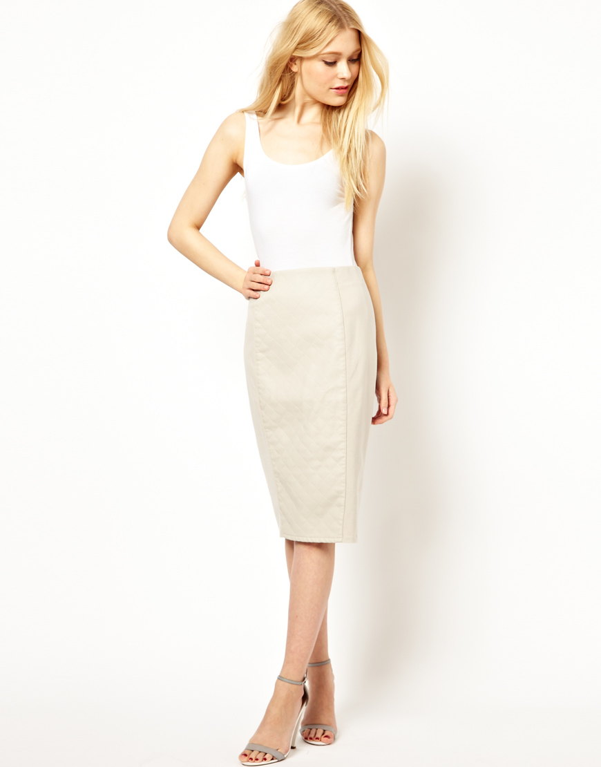 River island Leather Look Quilted Skirt in White | Lyst
