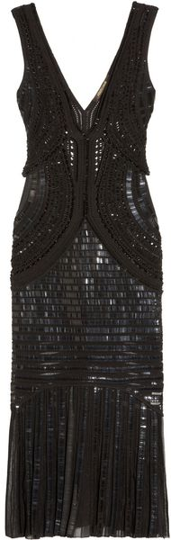 Roberto Cavalli Embellished Open-Knit Dress - Lyst