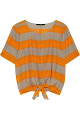 Tibi Knotted Striped Crepe Top - Lyst