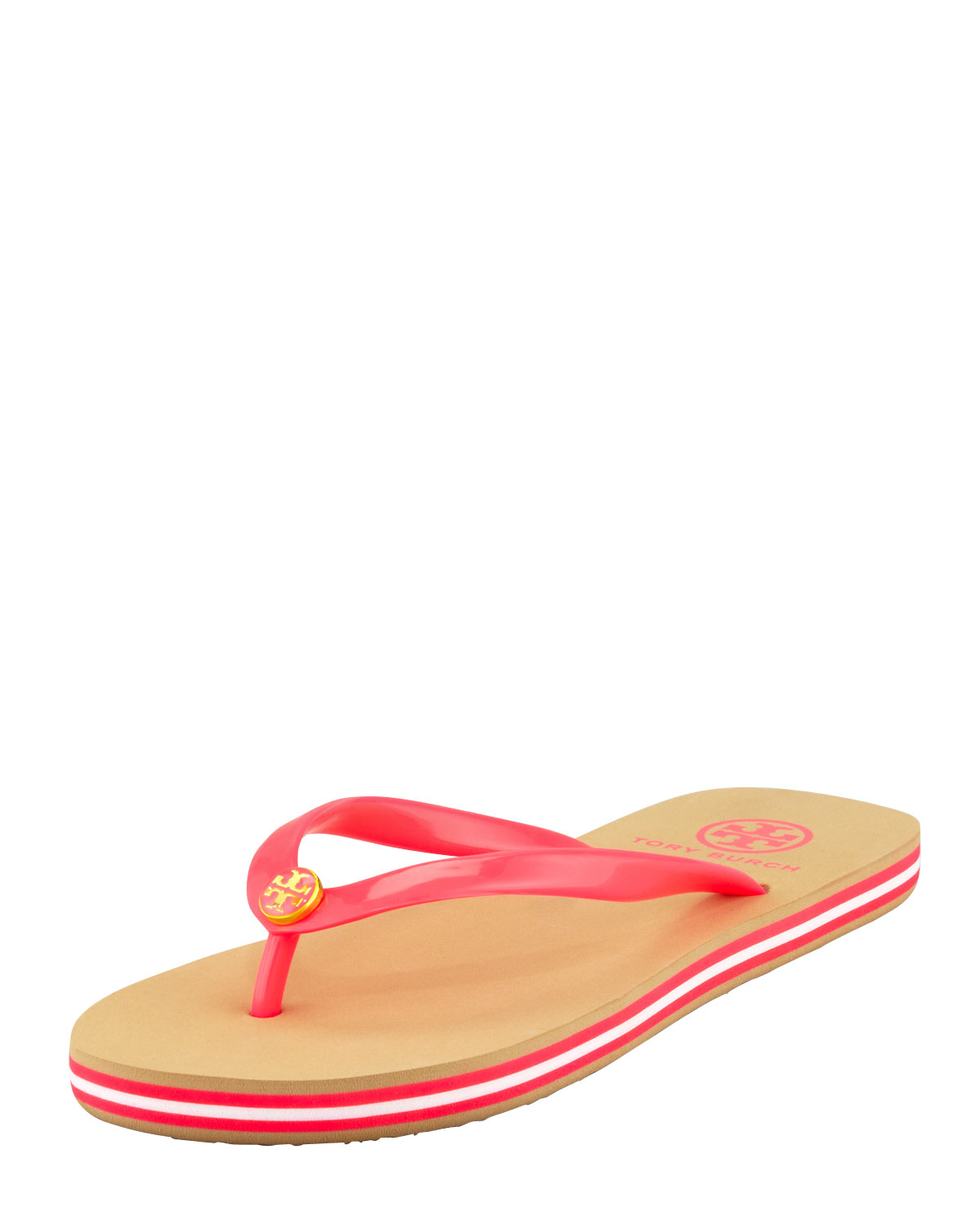 Tory Burch Neon Striped Rubber Flip Flop Neon Pink In Red