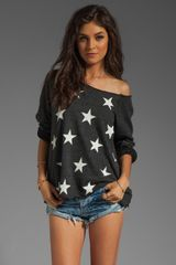 Wildfox Couture Jazzercise Stars Off The Shoulder Sweatshirt in Clean Black - Lyst
