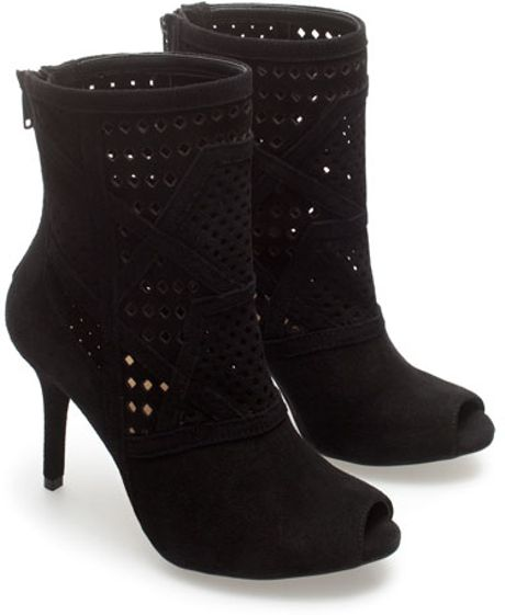 zara suede peep toe ankle boots in black lyst
