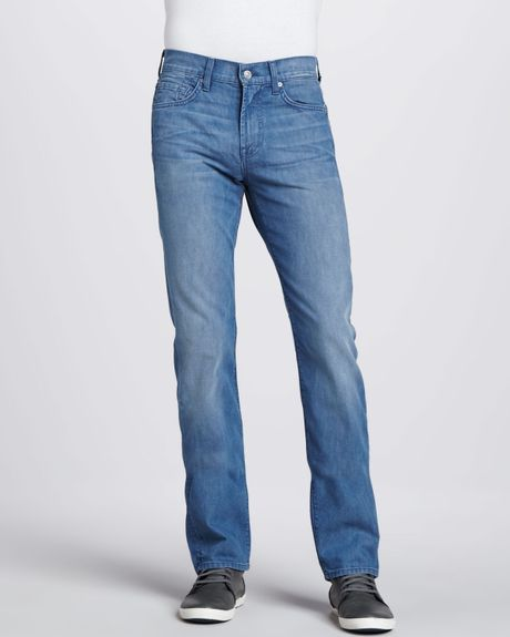 7 For All Mankind Slimmy Sky Blue Bright Jeans in Blue for Men | Lyst