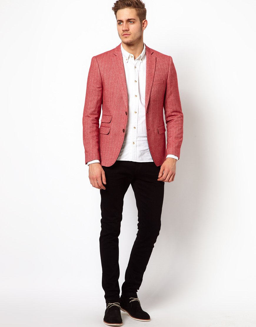 G-star raw Slim Fit Blazer in Red for Men | Lyst