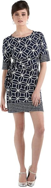 Donna Morgan Printed Side Tie Dress - Lyst
