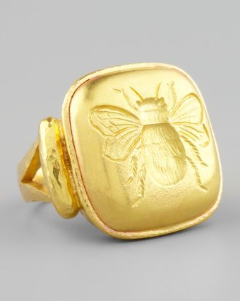 Elizabeth Locke 19k Gold Bee Cushion Ring - Lyst