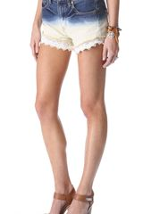 Free People Dip Dye Lacey Shorts - Lyst