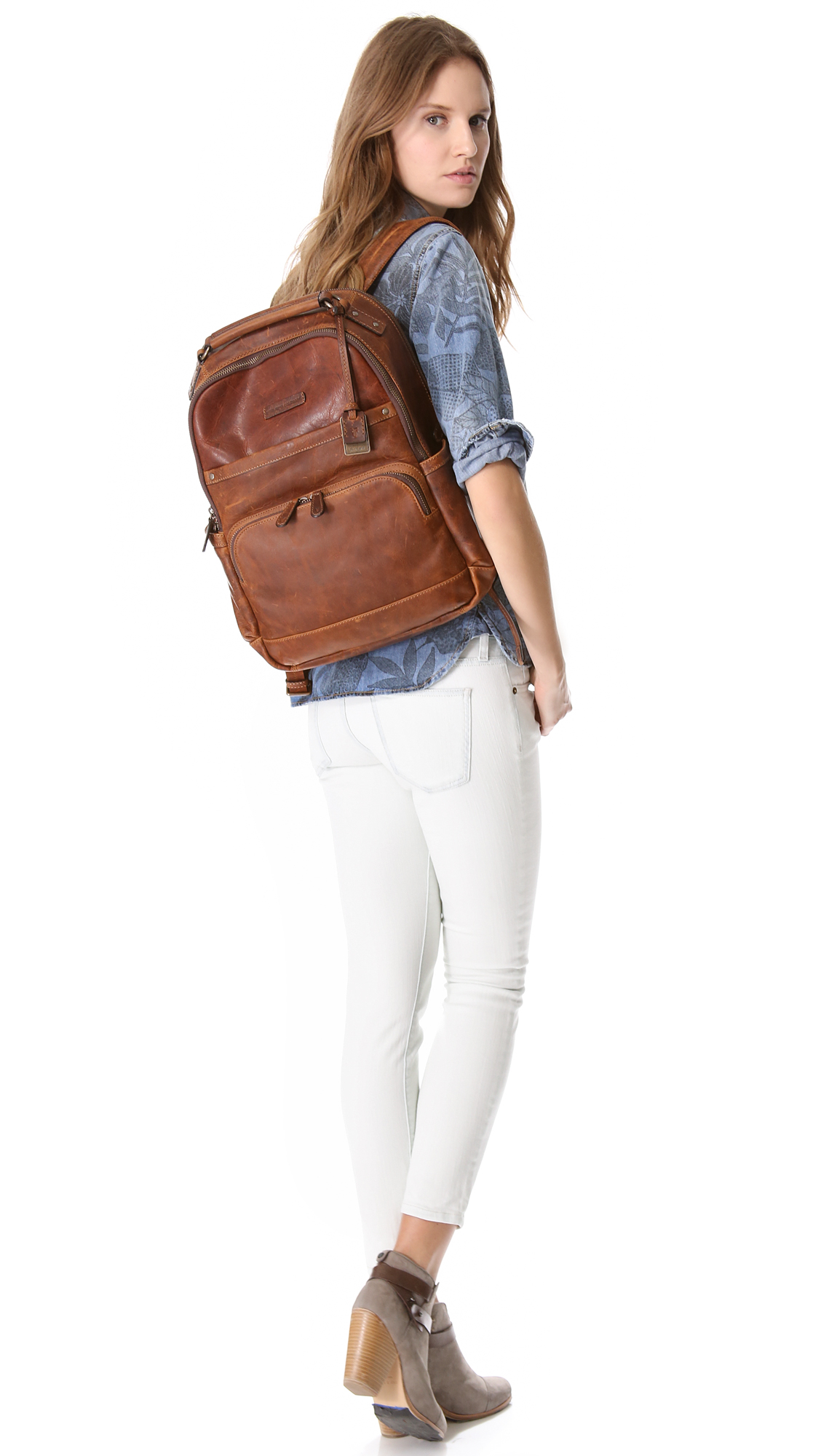 Lyst Frye Logan Backpack In Brown