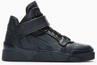 Givenchy Black Leather Velcrostrap Midtop Sneakers - Lyst