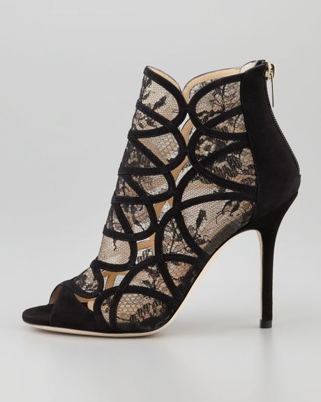 jimmy choo fauna lacesuede cage sandals in black lyst