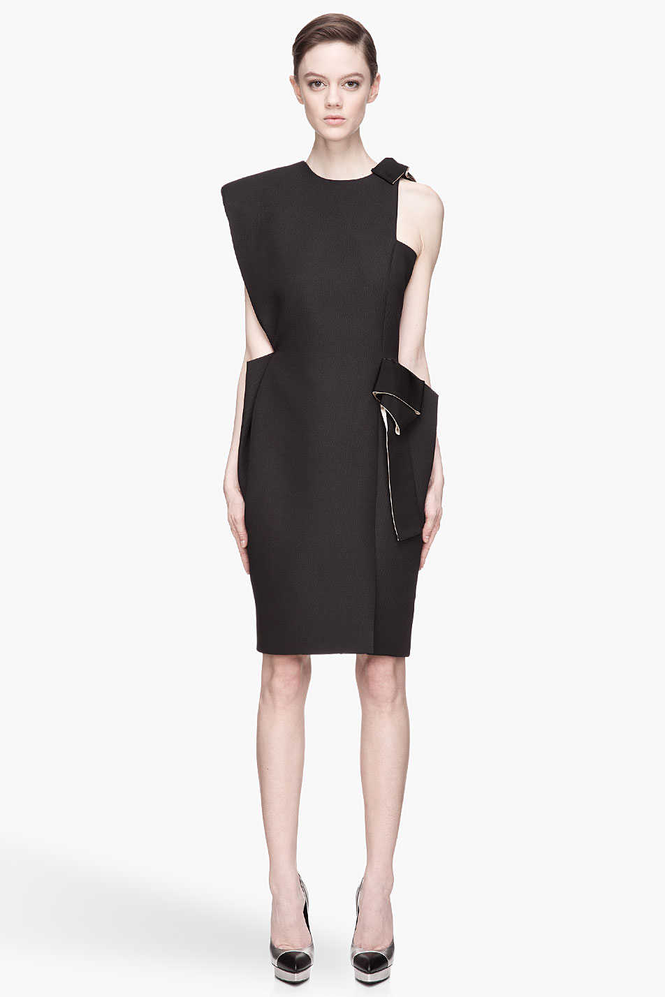 Lyst Lanvin Black And Beige Textured Cut Out Runway