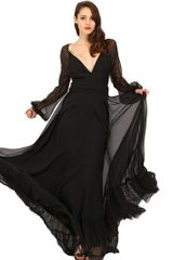 Luisa Beccaria Silk Chiffon Long Dress - Lyst