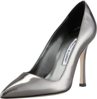 Manolo Blahnik Pointtoe Metallic Pump Gunmetal - Lyst