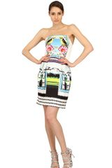 Mary Katrantzou Printed Silk Twill Strapless Dress - Lyst