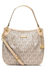 Michael by Michael Kors Large Jet Set Signature Pvc Shoulder Bag - Lyst