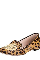 Miu Miu Leopardprint Calfhair Smoking Slipper - Lyst