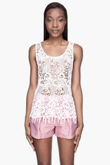 MSGM Sheer White Madame Lace Top - Lyst