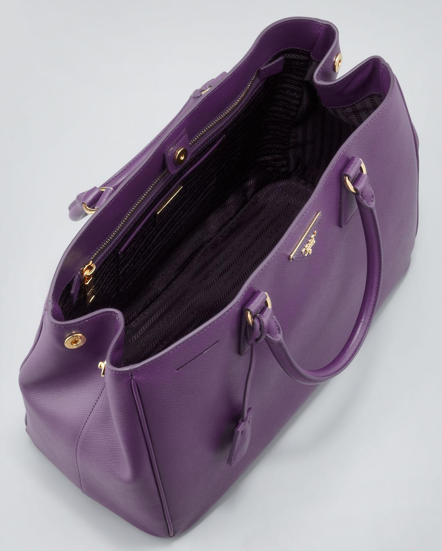 prada saffiano gardners tote bag purple in purple lyst