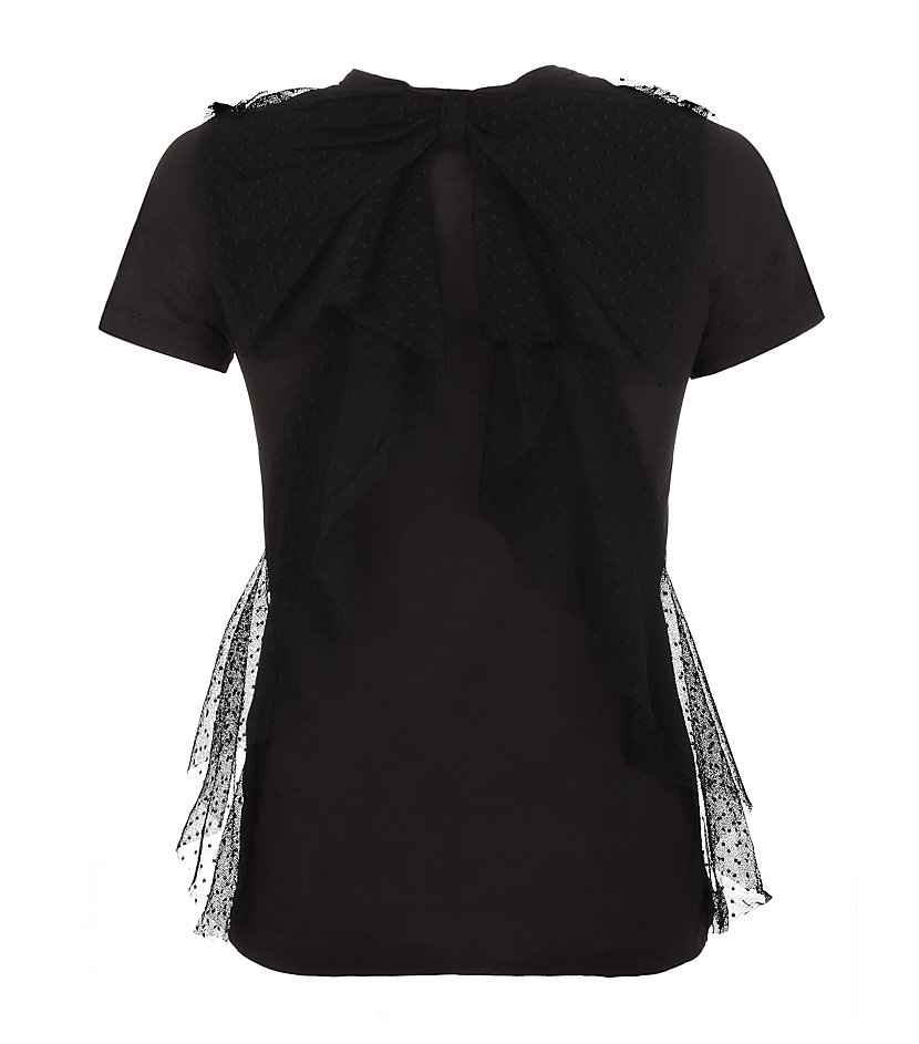 Red valentino tulle bow back tshirt in black lyst for Red valentino t shirt