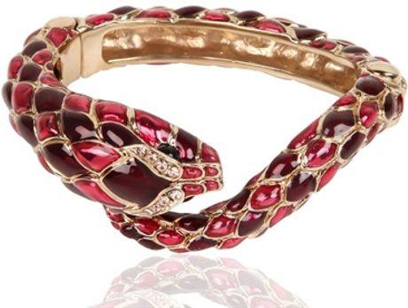 Roberto Cavalli Snake Swarovski Metal Bracelet In Pink