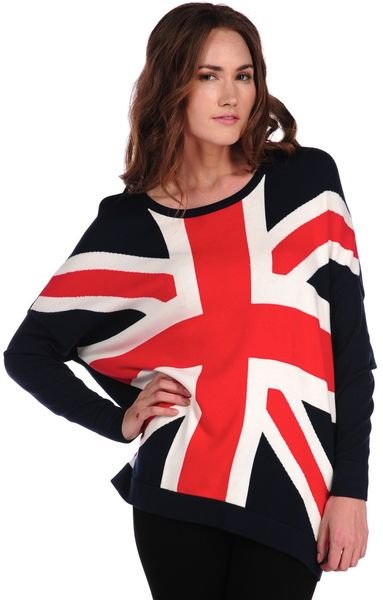 Torn By Ronny Kobo Anthea Union Jack Sweater in Blue (navy)