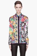 Versace Vivid Fuchsia Multicolor Silk Floral Patterned Blouse - Lyst