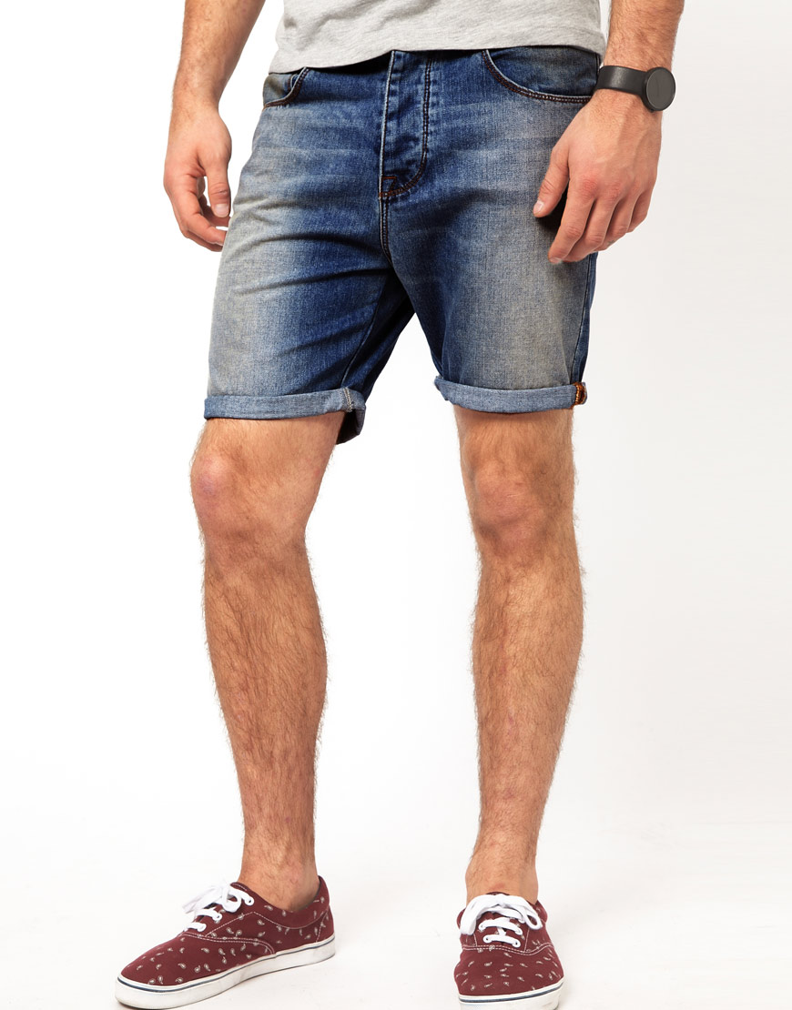 Asos Denim Shorts In Slim Fit in Blue for Men | Lyst