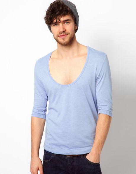 Asos three quarter sleeve t shirt with deep scoop neck in for Deep scoop neck t shirt
