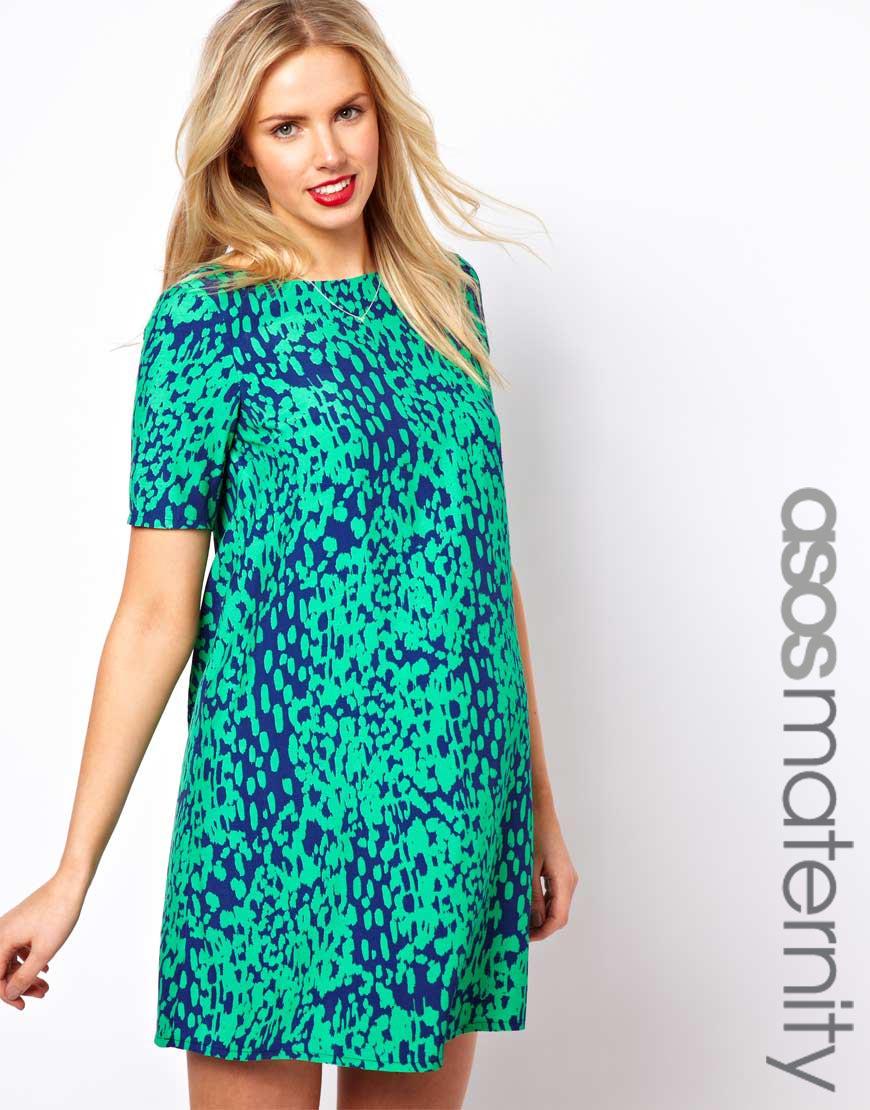 Lyst - Asos Shift Dress in Animal Print in Green