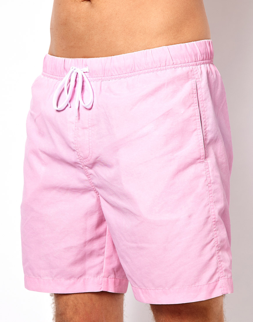 b605ac2cbf ASOS Swim Shorts With Acid Wash In Mid Length in Pink for Men - Lyst