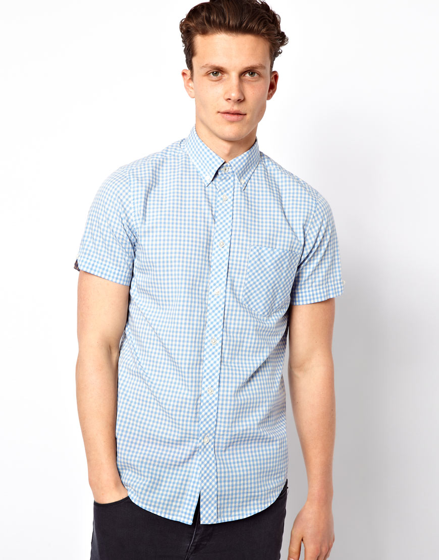 Ben Sherman Gingham Shirt With Short Sleeves In Blue For