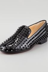 Christian Louboutin Rolling Spikes Patent Smoking Slipper - Lyst
