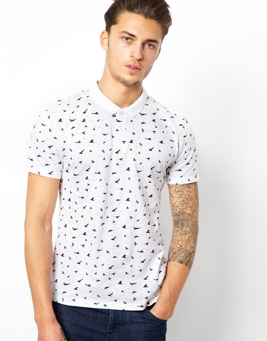 05854d1e98c Esprit Polo Shirt with Bird Print in White for Men - Lyst