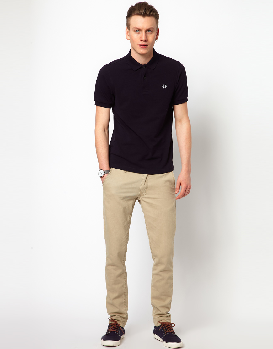 Cheap Monday Fred Perry Slim Fit Plain Polo In Blue For