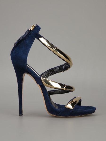 Gianmarco Lorenzi Metallic Strappy Sandals In Blue Marine
