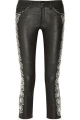 Isabel Marant Dobra Embellished Cropped Leather Skinny Pants - Lyst