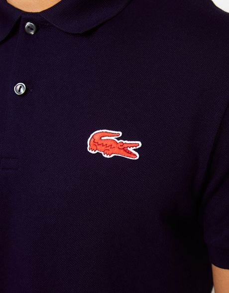 Lacoste l ive polo shirt with large crocodile in blue for for Lacoste shirts with big alligator