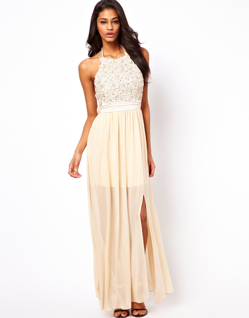 Little mistress Halter Maxi Dress with Flower Applique in Natural ...