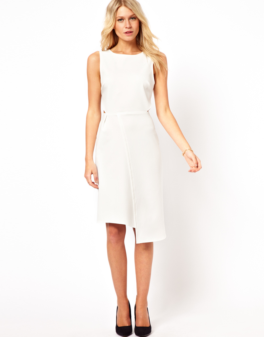 midi dress with wrap skirt in white lyst