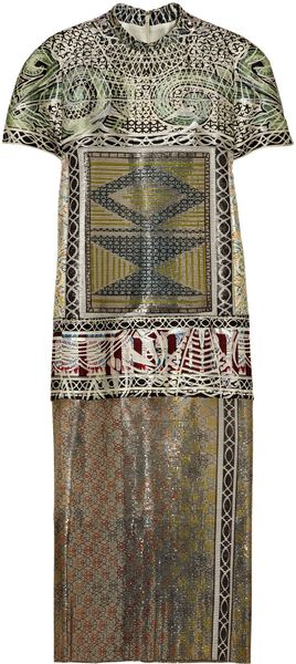Mary Katrantzou Jigsaw Printed Metal Mesh and Jacquard Dress - Lyst