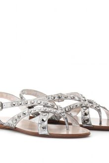 Miu Miu Metallic Leather Sandals with Studs - Lyst