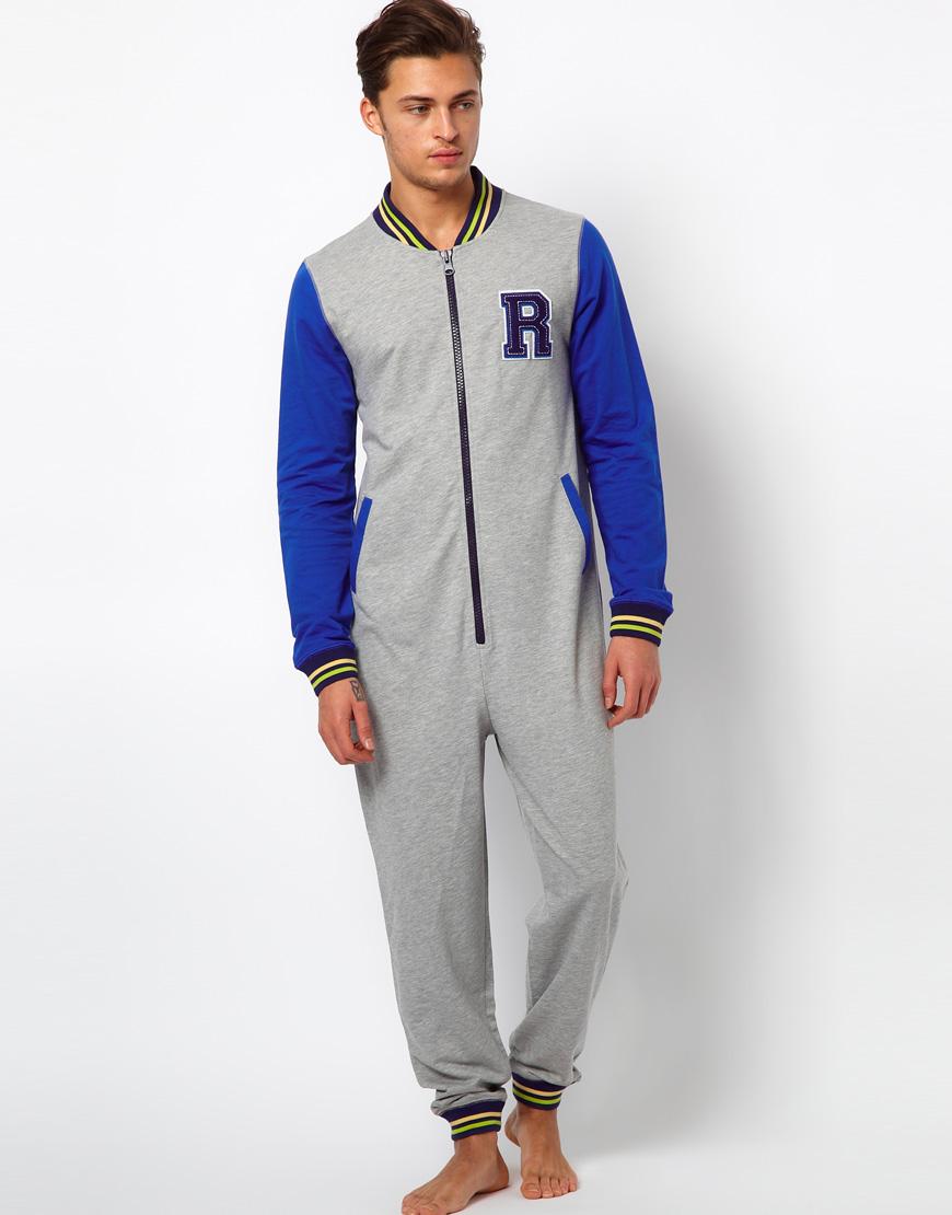 River Island Varsity Onesie In Blue For Men Grey Lyst
