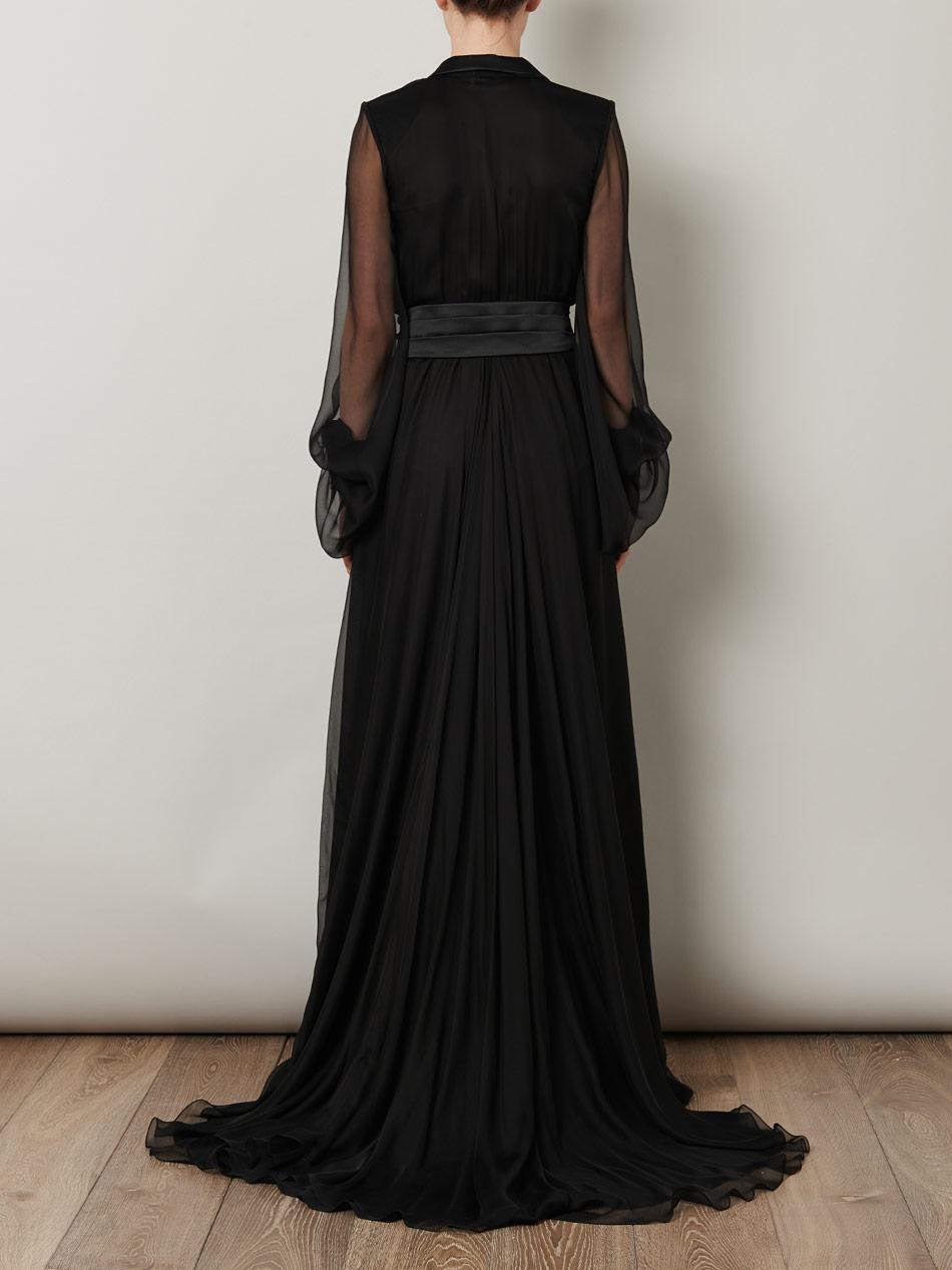 Saint Laurent Le Smoking Full Length Gown In Black Lyst